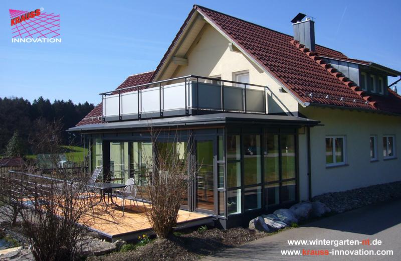 Der flachdach wintergarten mit begehbarer dachterrasse hersteller krauss gmbh 88285 bodnegg - Wintergarten fotos ...